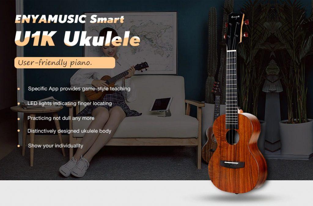 kupón, převodovka, ENYAMUSIC U1K APP LED Bluetooth USB Smart 23 palec Ukulele plná deska