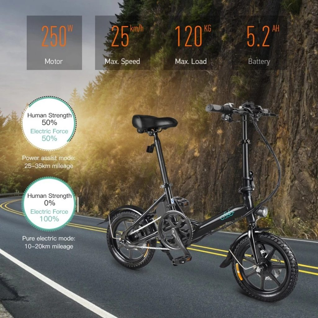 geekbuying, banggood, coupon, tomtop, FIIDO D3 14 Inch Folding Power Assist Eletric Bicycle