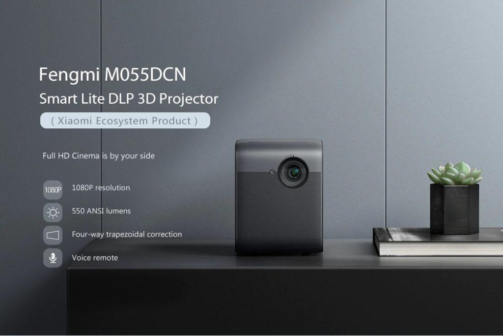banggood, קופון, gearbest, Fengmi M055DCN Smart Lite DLP 3D מקרן (מוצר אקוסיסטם של Xiaomi)