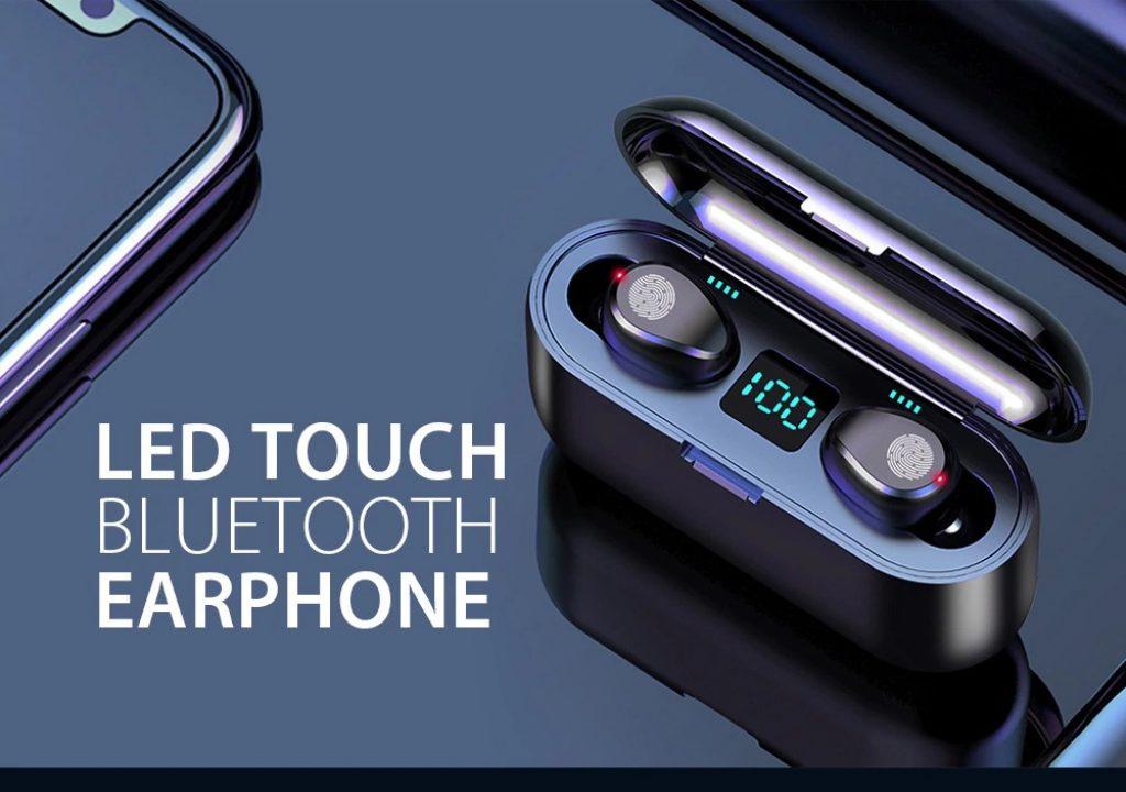 κουπόνι, gearbest, ασύρματο ακουστικό Gocomma F9 Ακουστικό Bluetooth V5.0 με οθόνη αφής LED με τροφοδοτικό και μικρόφωνο