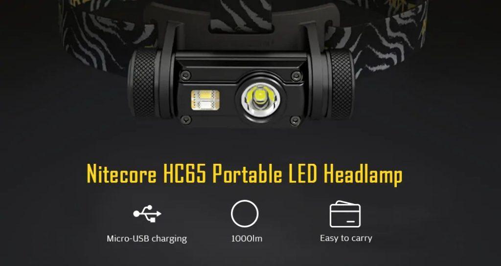 クーポン、ギアベスト、Nitecore HC65ポータブル1000lm 18650バッテリー付きLEDヘッドランプ