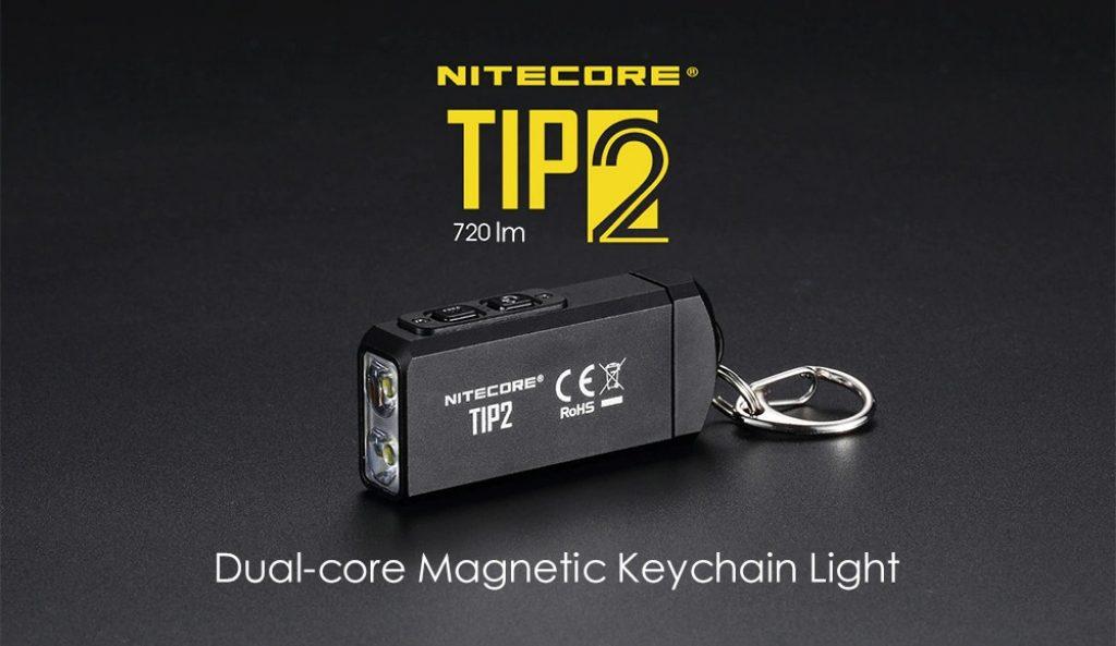 クーポン、ギアベスト、Nitecore TIP2 720lmデュアルコア磁気キーチェーン懐中電灯