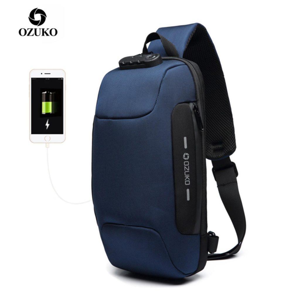 kupón, náramek, OZUKO náprsní taška USB externí nabíjení Anti-Theft Crossbody Bag Vodotěsná taška přes rameno pro cestovní cestování