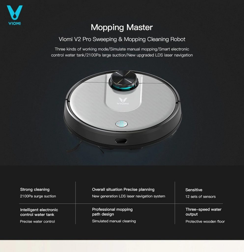 coupon, gearbest, VIOMI V2 Pro Robot Vacuum Cleaner 2 in 1 Sweeping Mopping
