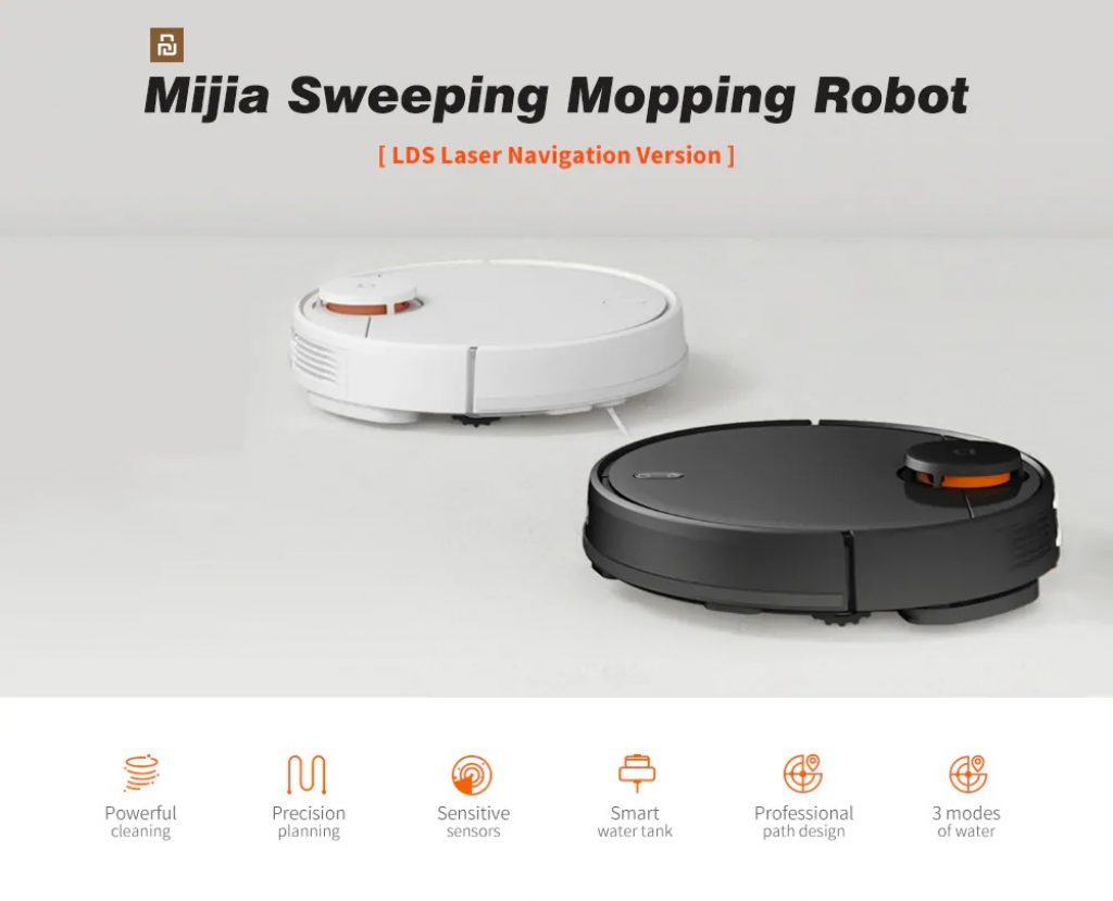 kupon, gearbest, Xiaomi Mijia STYJ02YM 2 di 1 Menyapu Mengepel Robot Vacuum Cleaner