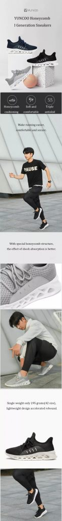 coupon, banggood, YUNCOO Honeycomb I Gen Men Sneakers From Xiaomi Youpin Ultralight Shock Absorption Non-slip Soft Sport Running Shoes