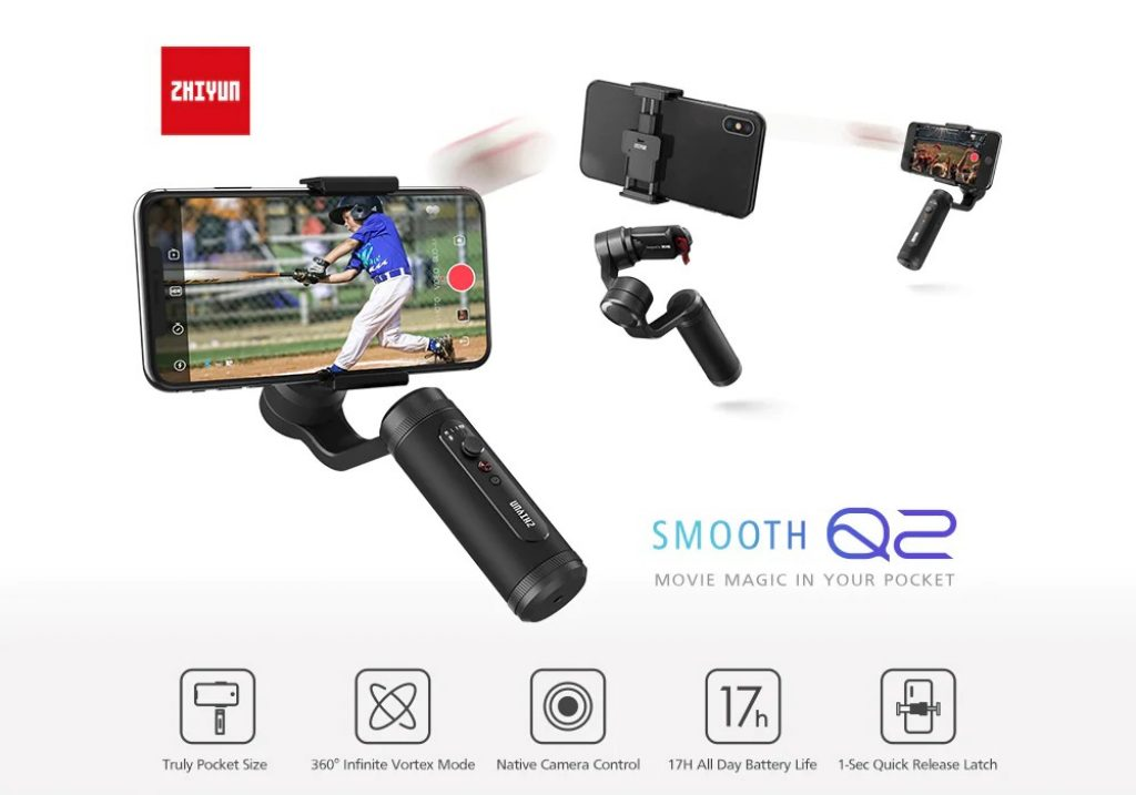 kupon, gearbest, ZHIYUN Smooth Q2 Gimbal Hand Hold Stabilizer Oś 3 Anti-shaking Uchwyt na telefon