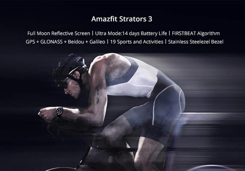 Kupon, gearbest, Amazfit Stratos 3 Akıllı GPS Spor İzle 1.34 inç Ekran 5ATM Su Geçirmez Çok spor Modu BioTracker Kalp Hızı Monitörü MP3 Çalar