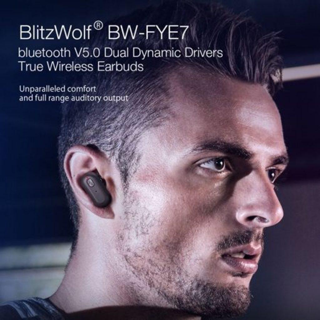 קופון, banggood, Blitzwolf® BW-FYE7 TWS bluetooth 5.0 אוזניות אוזניות סטריאו בס כבד דו צדדי שיחות אוזניות עם תיבת טעינה