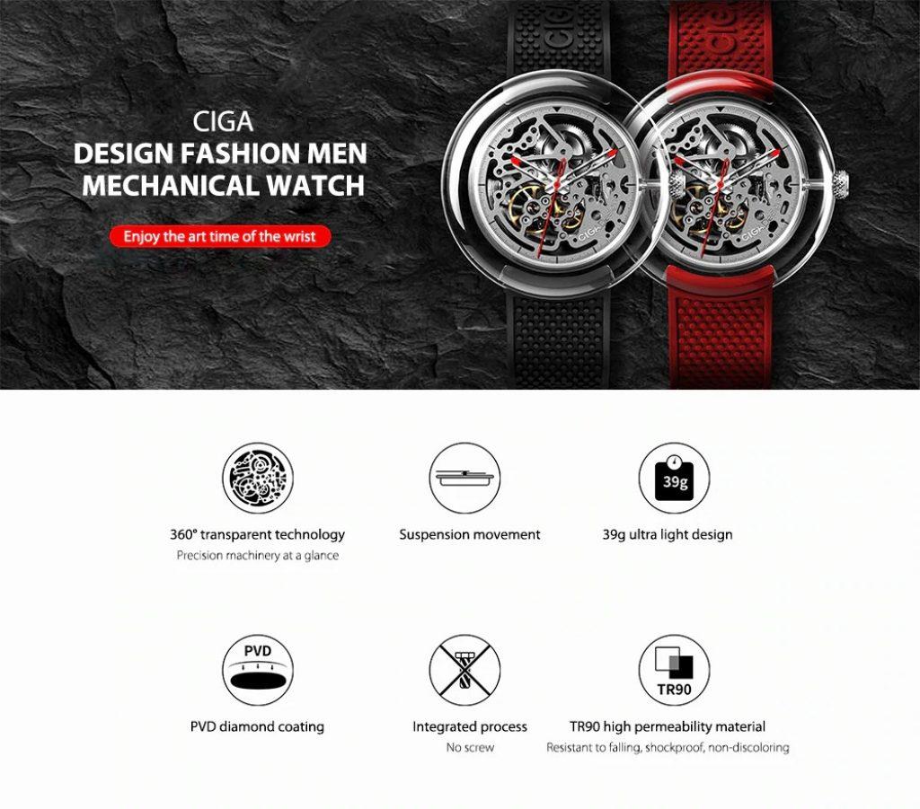 kupón, náramek, pánské mechanické hodinky řady CIGA Design T od Xiaomi youpin
