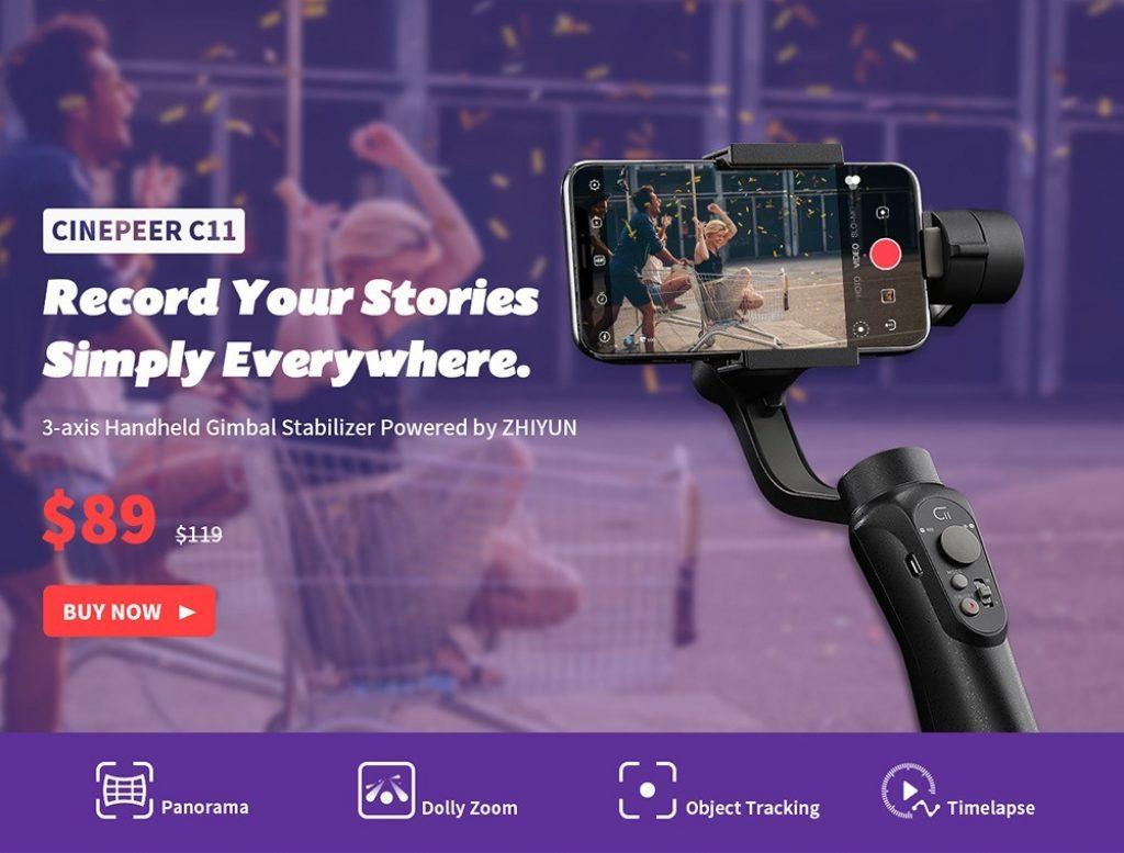 coupon, gearbest, Cinepeer C11 Stabilizzatore cardanico palmare per smartphone con asse 3