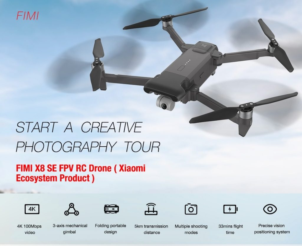 banggood, coupon, gearbest, FIMI X8 SE FPV 4K Camera RC Drone 3-Axis Gimbal WiFi Quadcopter