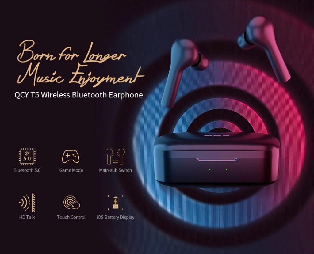 kupon, gearbest, QCY T5 Bluetooth 5.0 Binaural Earphone Nirkabel Pengisian Earbud