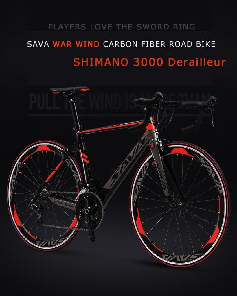 coupon, gearbest, SAVA Windwar Road Bike Carbon Fiber Road bike with SHIMANO SORA 18 speeds Racing Road Bicycle