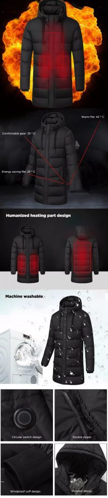 coupon, banggood, TENGOO Intelligent Temperature Control Jacket Long Section USB Rechargeable Waterproof Windproof Winter Coats
