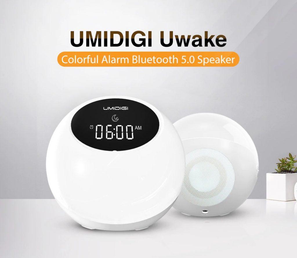 kupón, náramek, UMIDIGI Uwake bezdrátový bluetooth reproduktor přenosný barevný LED reproduktor reproduktor stereo hudba budík noční světlo