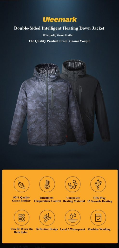 coupon, banggood, Uleemark 3.0 Smart Heating Down Jacket From Xiaomi Youpin Automatic Heating Waterproof Goose Feather 2-Size Style