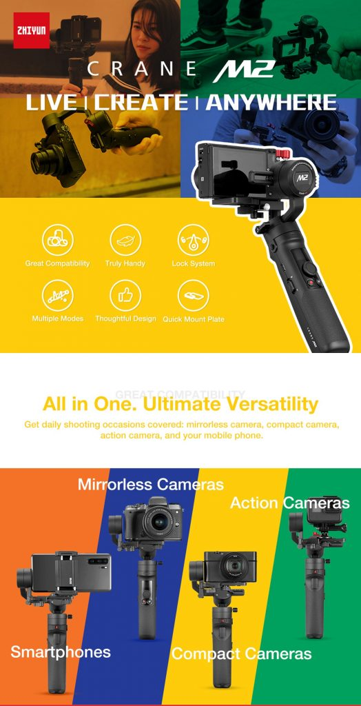 coupon, banggood, ZHIYUN Original Crane M2 Gimbals for Smartphones Mirrorless Action Compact Camera Handlebar Stabilizer