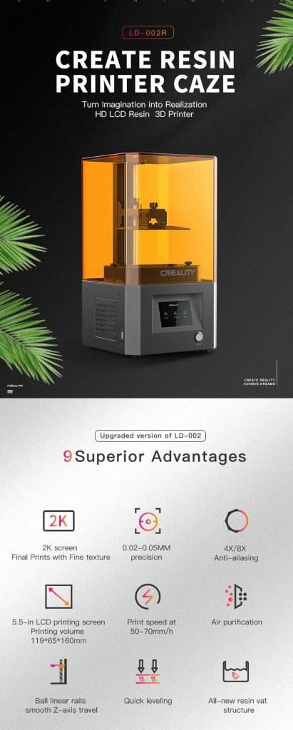 coupon, gearbest, Creality LD-002R HD LCD Resin 3D Printer
