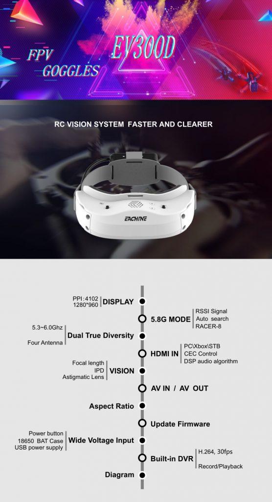 קופון, Banggood, Everyine EV300D HDMI FPV משקפי