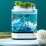 coupon, banggood, Geometry Mini Lazy Fish Tank USB Charging Self-cleaning Aquarium with 7 Colors LED Light from Xiaomi Youpin