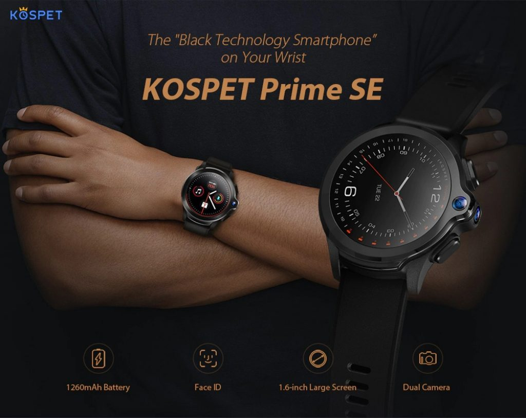 coupon, gearbest, KOSPET Prime SE Face ID Dual Cameras 4G Smartwatch Phone