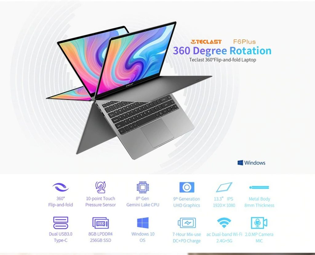 coupon, gearbest, laptop Teclast F6 Plus 13.3 pollici