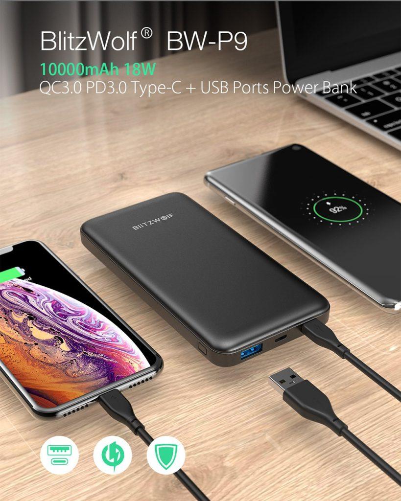קופון, banggood, BlitzWolf® BW-P9 10000mAh 18W QC3.0 PD3.0 סוג c + יציאות USB בנק כוח