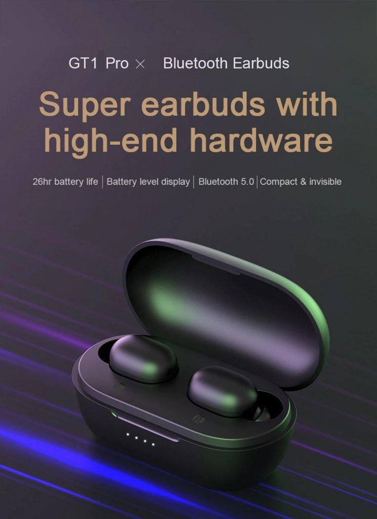 Kupon, gearbest, Haylou GT1 Pro Bluetooth 5.0 Gerçek Kablosuz Kulaklık DSP 26 Saat Çalma Süresi Siri Google Yardımcısı Pil Ekranı IPX5 Kulakiçi