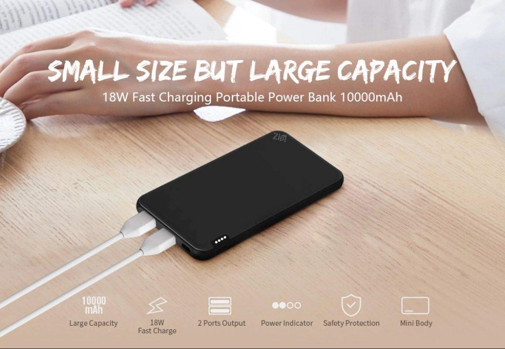 쿠폰, gearbest, 미니 18W 양방향 고속 충전 휴대용 전원 은행 10000mAh 2 포트 출력 USB 배터리 충전기, Xiaomi youpin의 상태 표시 등 포함