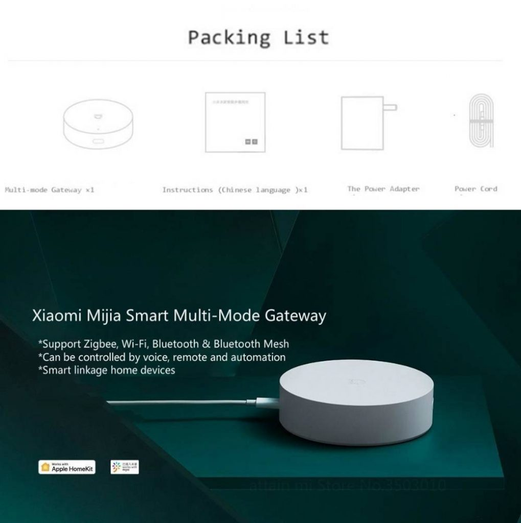 coupon, banggood, XIAOMI Mijia Smart Multimode Gateway WIFI ZigBee3.0 WiFi Bluetooth Mesh Work With Mijia APP Intelligent Home Hub IOS Homekit From Xiaomi Youpi