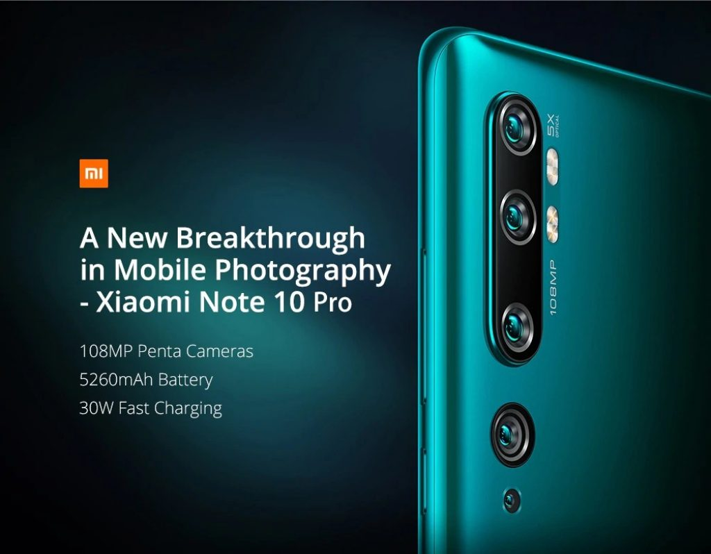 القسيمة ، والعتاد ، Xiaomi Mi Note 10 Pro 108MP Penta Camera Smartphone