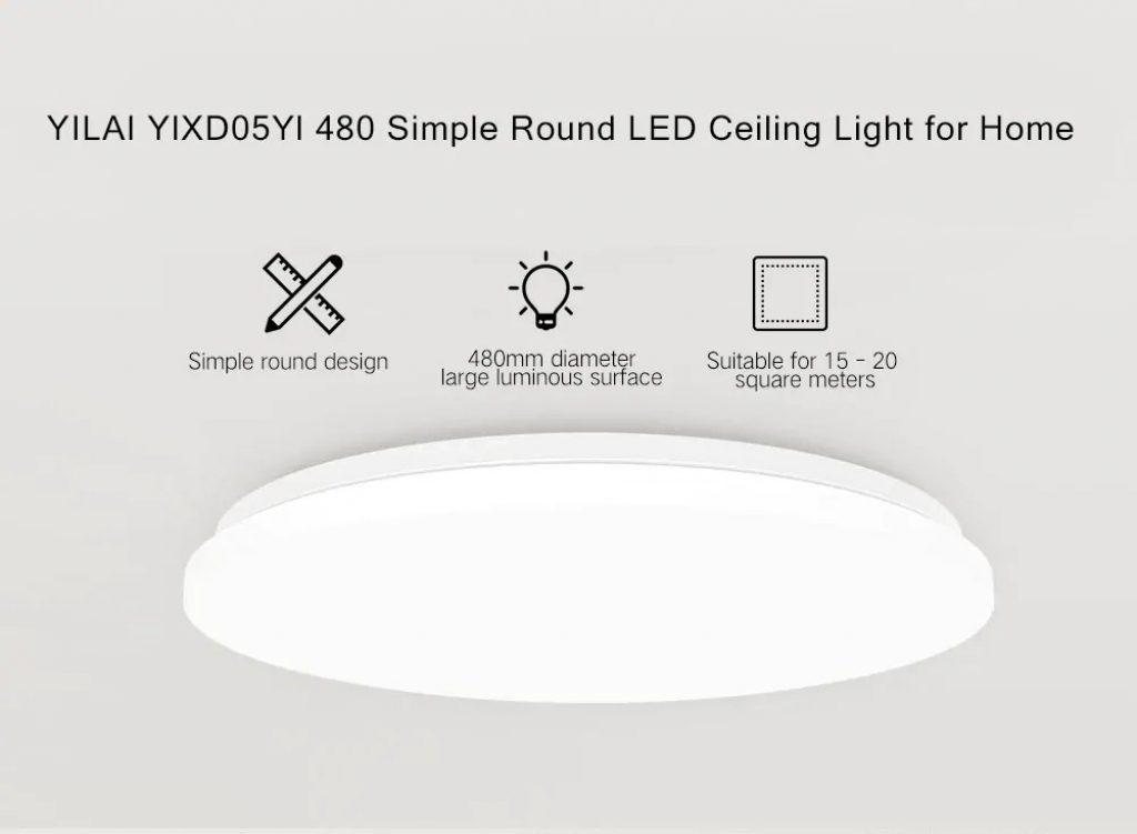 kupón, převodovka, Yeelight YILAI YlXD05Yl 480mm 34W Jednoduchý kulatý LED inteligentní stropní světlo pro verzi Home Star (produkt Xiaomi Ecosystem)