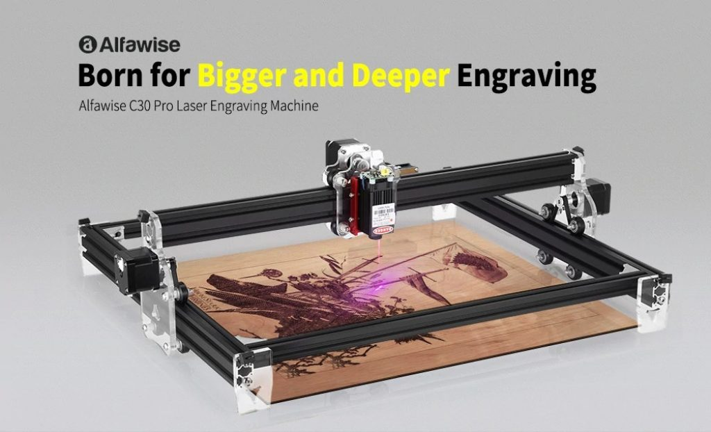 쿠폰, gearbest, Alfawise C30 Pro 3000mw 레이저 조각 기계 550 x 450mm 대 면적 고정밀 간단한 프레임 레이저 조각사