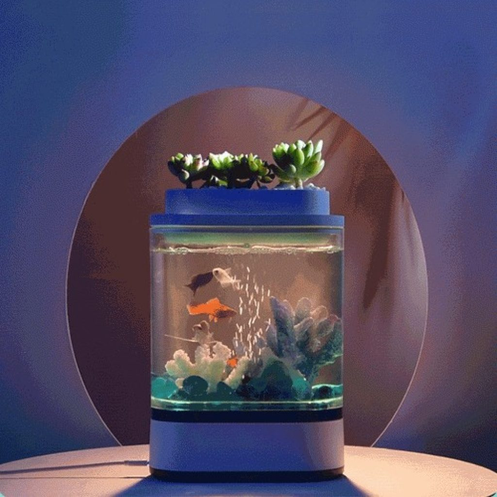 coupon, banggood, Geometry Mini Fish Tank USB Charging Self-Cleaning Aquarium with 7 Colors LED Light For Home Decorations From Xiaomi Youpin