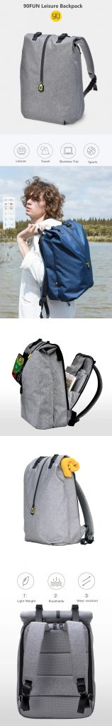 kupon, banggood, 90FUN Leisure backpack 14 pulgada laptop Bag Hindi tinatagusan ng tubig Men Men Travel Travel mula sa Xiaomi Youpin