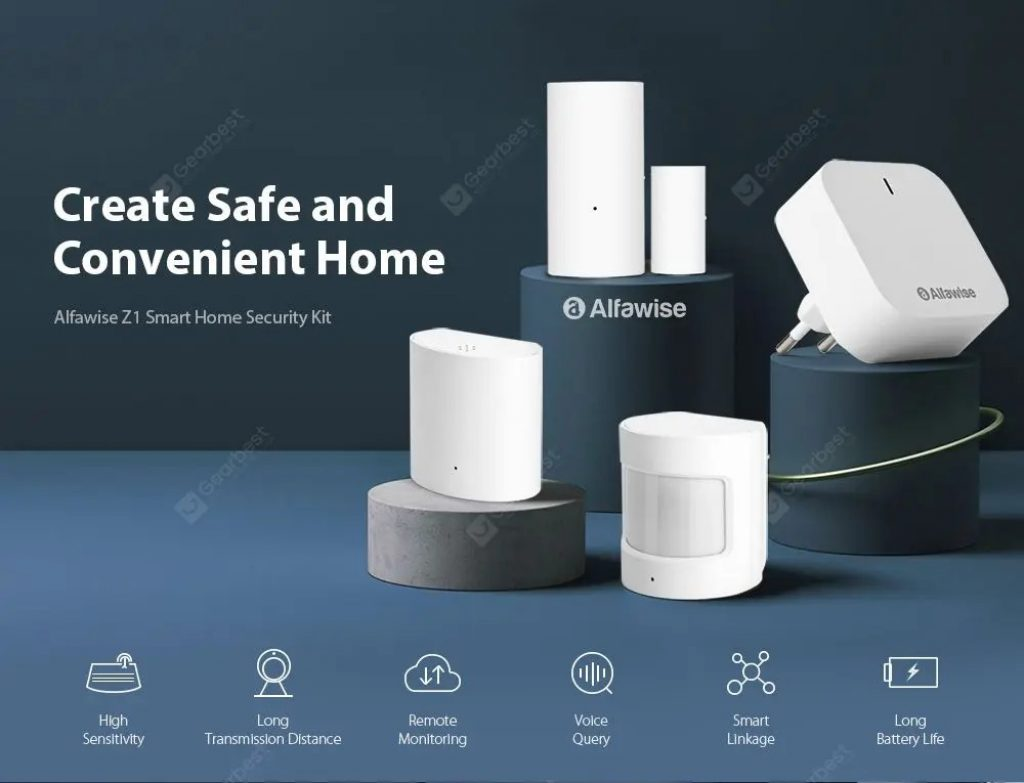 kupon, gearbest, Alfawise Z1 Smart Home Security Kit Wi-Fi Zigbee Gateway