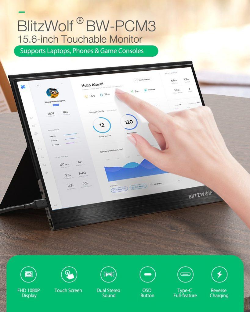 coupon, banggood, BlitzWolf® BW-PCM3 15.6 pouces tactile FHD 1080P Type C Écran d'affichage de jeu pour moniteur d'ordinateur portable pour tablette de smartphone