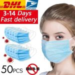 kupon, gearbest, DHL 50 pcs Bedah Medis Masker Wajah Anti Virus Pakai 3 lapisan Anti-bakteri Earloops Meltblown