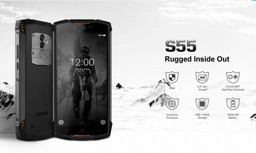 kupong, banggood, DOOGEE S55 Smarttelefon