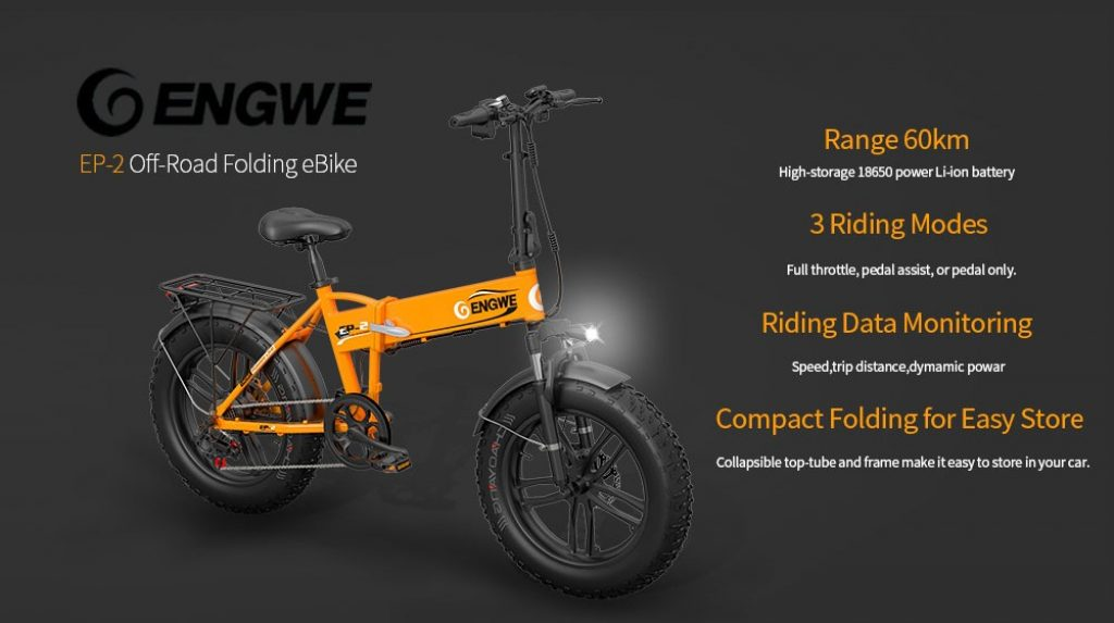 coupon, gearbest, ENGWE EP-2 Upgraded Version 500W Folding Fat Tire Electric Bike