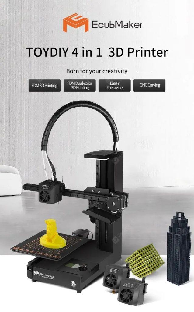 cupon, roată de viteză, EcubMaker TOYDIY Imprimantă 4D FDM cu laser 1D în 3