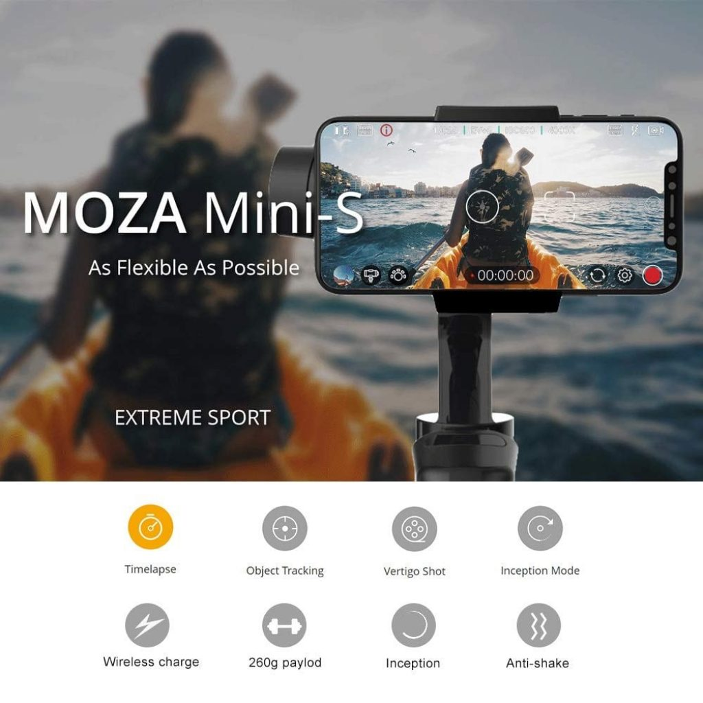 coupon, gearbest, MOZA Mini - S Foldable 3-axis Gimbal Stabilizer for Smartphone