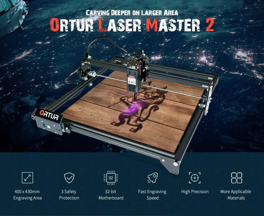쿠폰, gearbest, ORTUR Laser Master 2 32 비트 마더 보드 15W 레이저 조각기