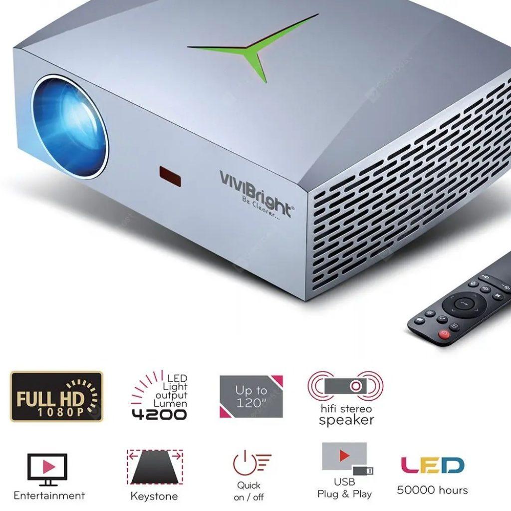 kupon, gearbest, Proyektor HD VIVIBRIGHT F40 1080P