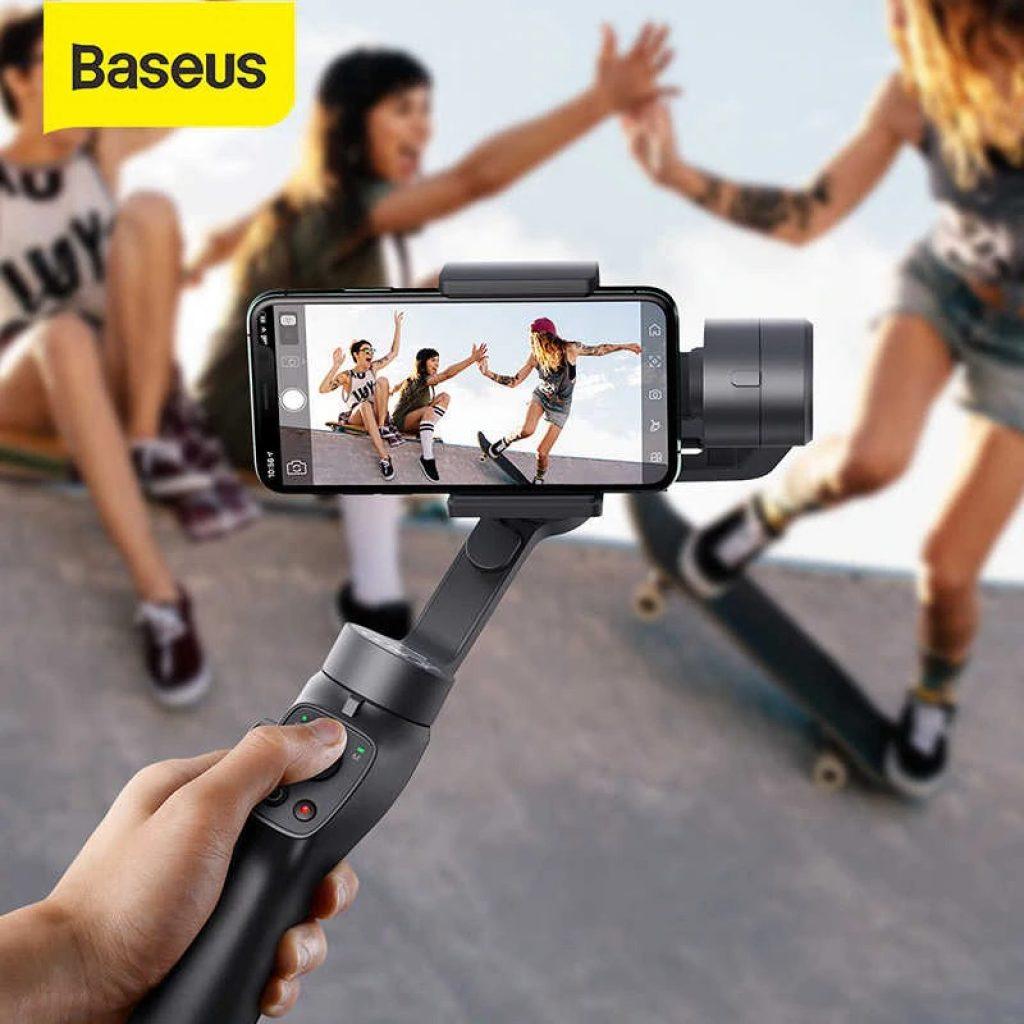 kupon, banggood, Baseus 3-Axis Gimbal Stabilizer bluetooth Selfie Tongkat Luar Pemegang Kamera Aksi