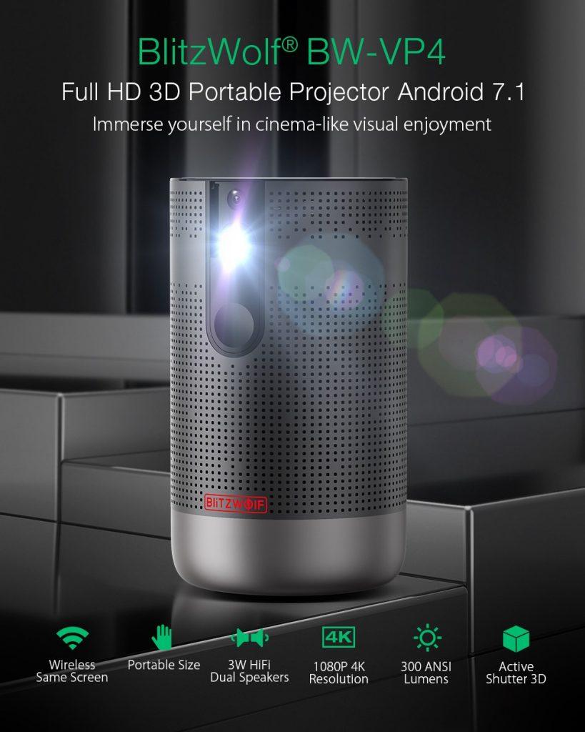 קופון, Banggood, מקרן נייד 4D HD מלא BlitzWolf® BW-VP3