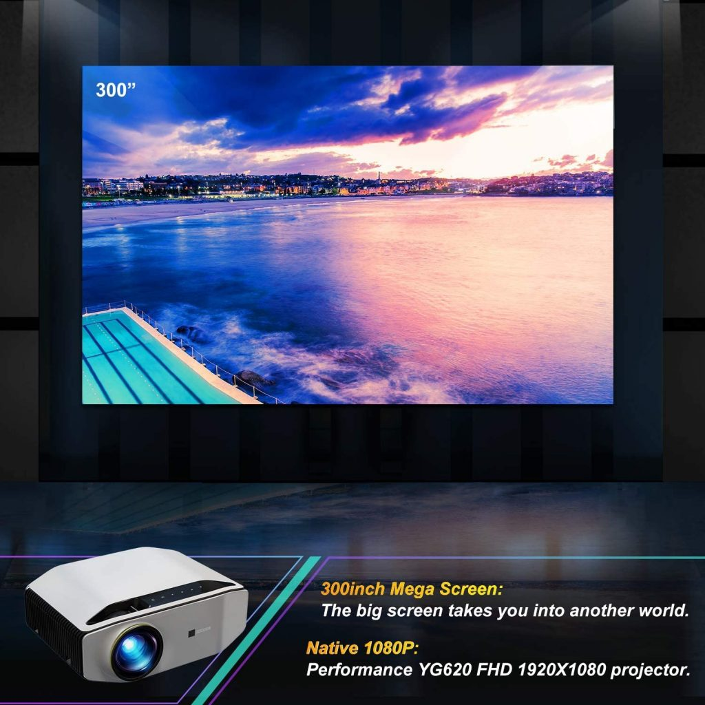kupon, GooDee YG620 Pinakabagong LED Video Projector Contrast Native 1080P Projector