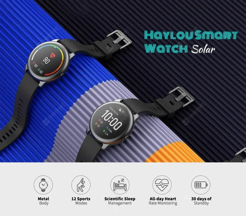banggood, geekbuying, coupon, gearbest, Haylou Solar Smart Watch 12 Sports Modes Global Version from Xiaomi youpin
