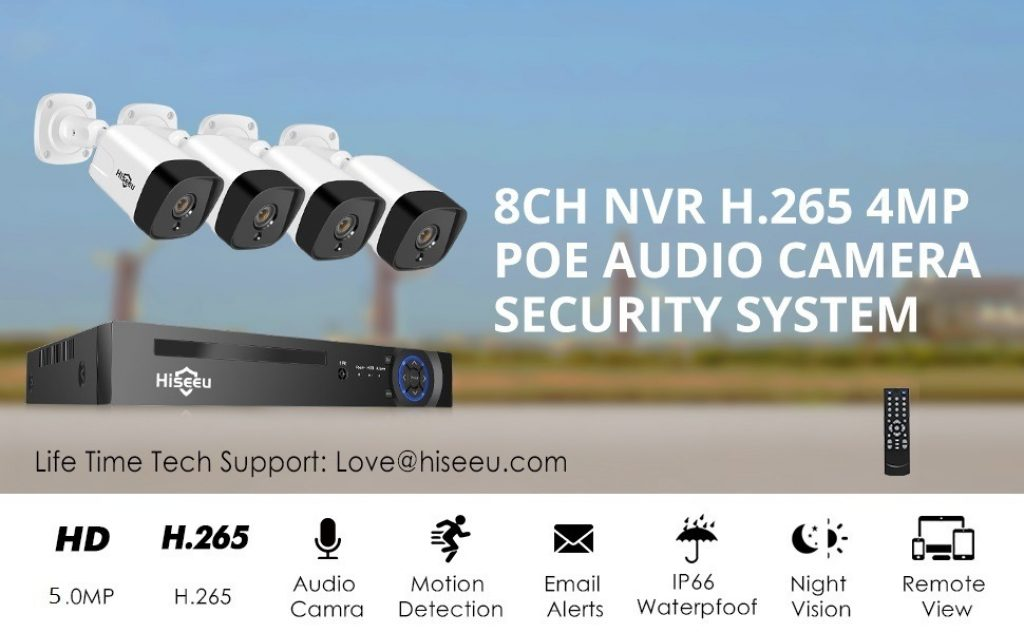 coupon, banggood, Hiseeu 4Pcs POE H.265+ Security IP Cameras 8CH 5MP NVR Camera System Support Audio Night Vision 10m IP66 Waterproof Onvif